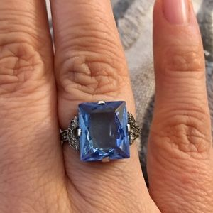 1930s antique blue glass & sterling silver ring